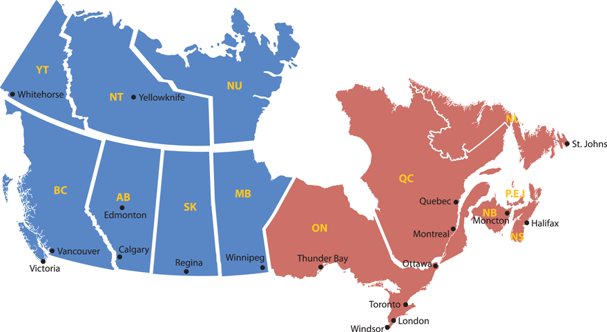 Vancouver Calgary And Toronto Pricing Option Canada Map